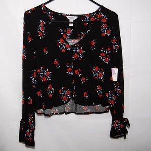 Black, red and blue floral crop top NWT
